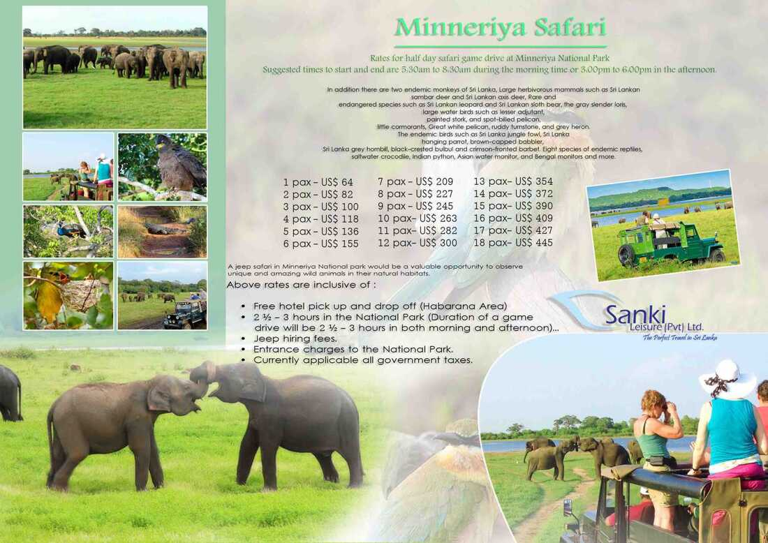 Minneriya Jeep safari price